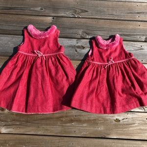 Baby Gap matching Dresses 2 & 12-18 Months Fur